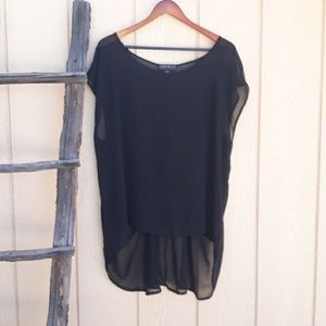 Forever 21 Tunic Sheer Top High Low Black Cinched
